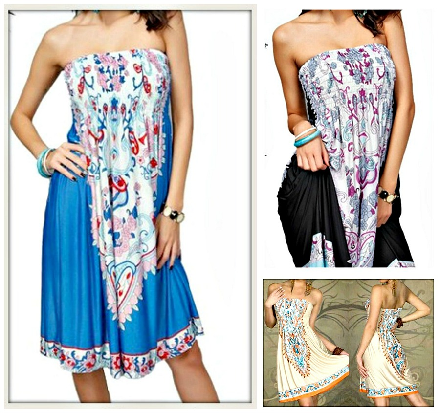 COWGIRL GYPSY DRESS Strapless A-Line Boho Floral Smocked Elastic Top Mini Dress LAST ONE!