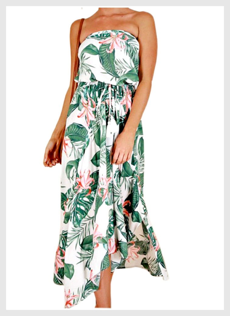 THE COSTA RICA DRESS Pink Floral & Green Palm Leaves on White Strapless Midi Dress ONLY 2 LEFT!