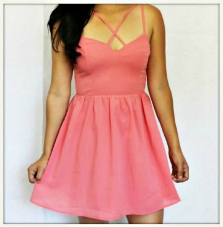 DESIGNER DRESS Pink Strappy Open Back Mini Designer Dress
