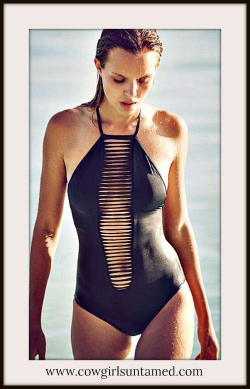 SEXY COWGIRL SWIMSUIT Strappy Black One Piece Bathing Suit