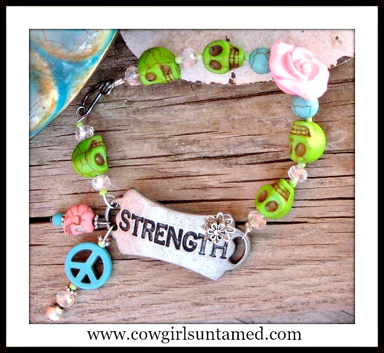 "COWGIRL STRONG BRACELET ""Strength"" Antique Silver Turquoise Charms Beaded Bracelet"