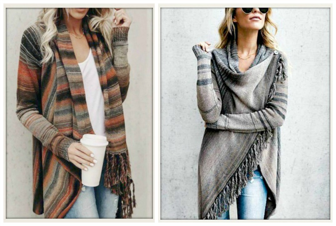 WILDFLOWER SWEATER Fringe Long Sleeve Loose Fit Asymmetrical Cardigan