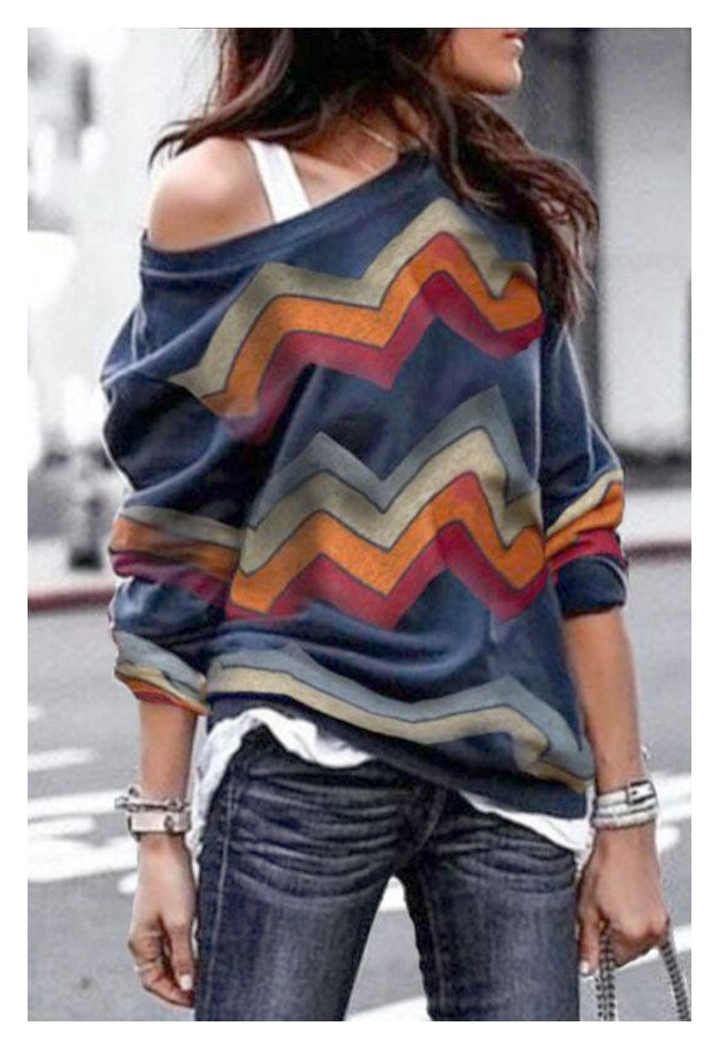 THE LEILA TOP Multi Color Stripe Long Sleeve Pullover Top ONLY 3 LEFT!