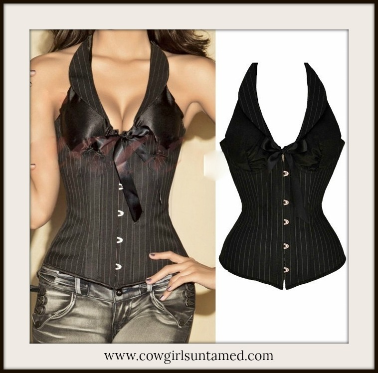 CORSET - Vintage Black Pinup Lace Up Back Halter Corset Bustier with Bow Top