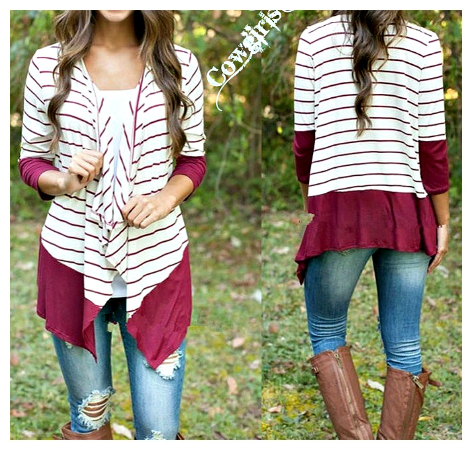 COWGIRL STYLE SWEATER White and Wine Striped Knit Long Sleeve Hi Low Hemline Lightweight Sweater L/XL - ONLY 2 LEFT!