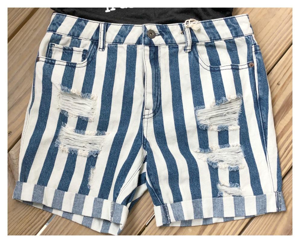 FEELIN' STRIPEY SHORTS Blue Striped Distressed Jean Shorts Sizes 26, 27, 28