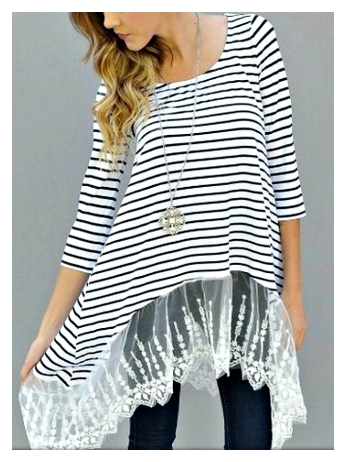 WILDFLOWER TOP Black and White Striped Lace Trim 3/4 Sleeve Tunic Top