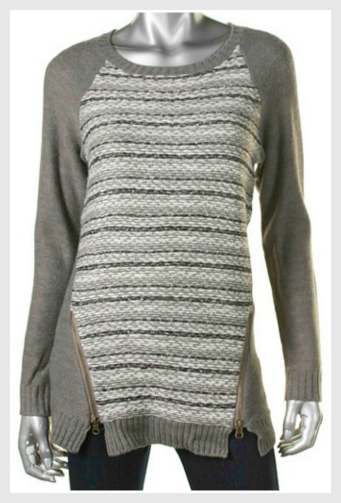 HOOKED UP SWEATER Zipper Accent on Grey Striped Designer Pullover Sweater LAST ONES S and L