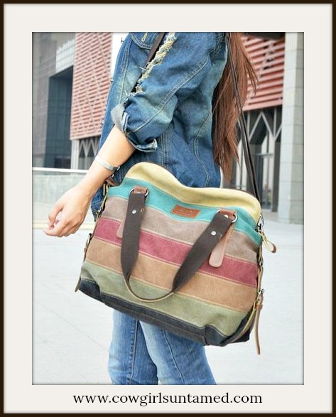 BOHO CHIC HANDBAG Multi Color Striped Canvas  & Faux Leather Large Shoulder Bag