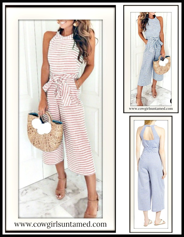 MAGNOLIAS BLOOM JUMPSUIT Striped Sleeveless Halter Wide Leg Casual Jumpsuit