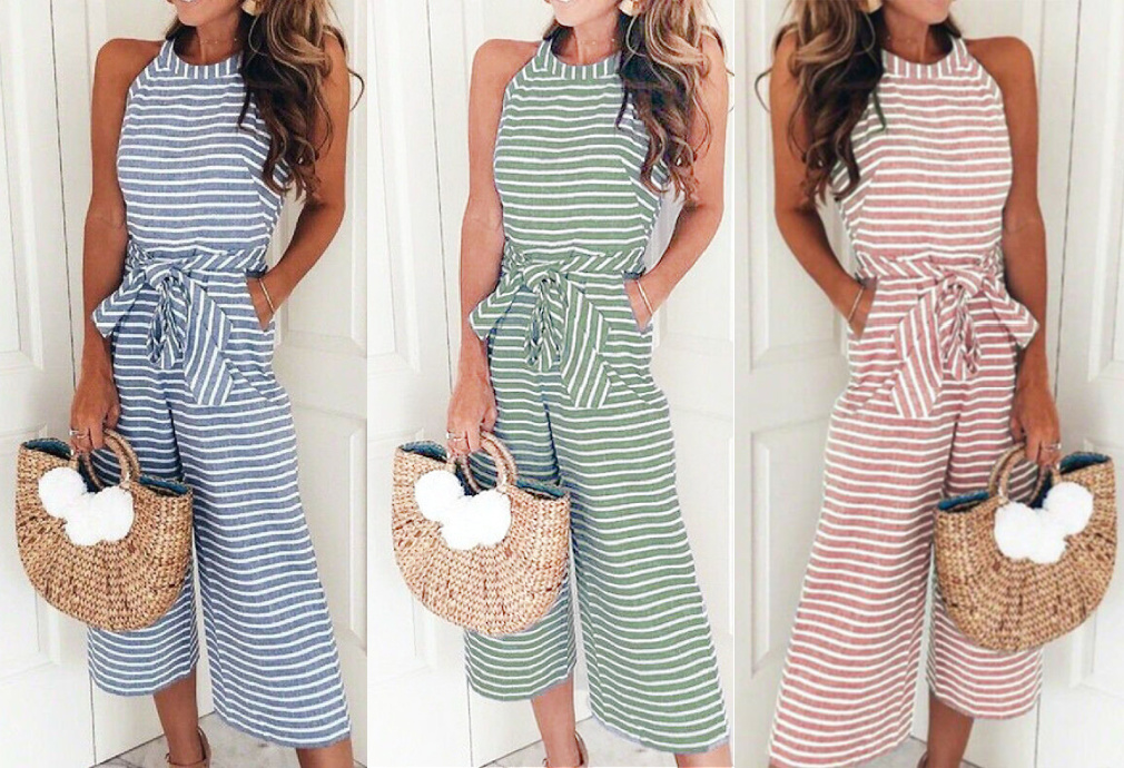 MAGNOLIAS BLOOM JUMPSUIT Striped Sleeveless Halter Wide Leg Casual Jumpsuit 3 COORS S-XL