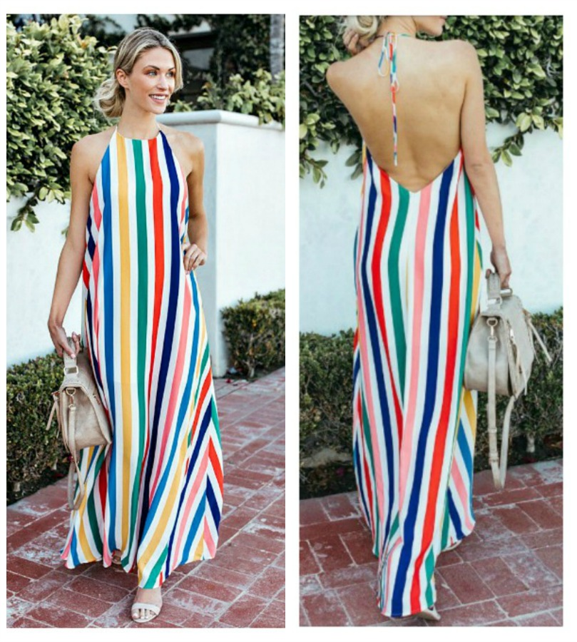 BOHO CHIC DRESS Multi Color Stripe Sleeveless High Neckline Halter Style Boho Maxi Dress