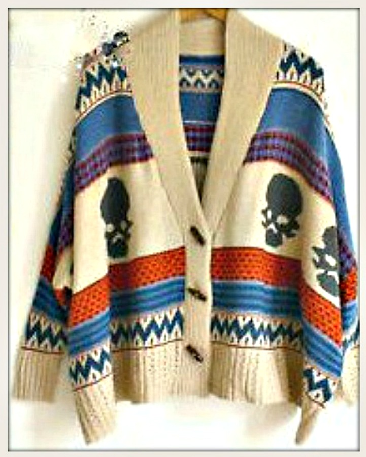 COWGIRL GYPSY SWEATER Striped with Skull Design on Blue Red Beige Oversized Poncho Cardigan Sweater LAST ONE!
