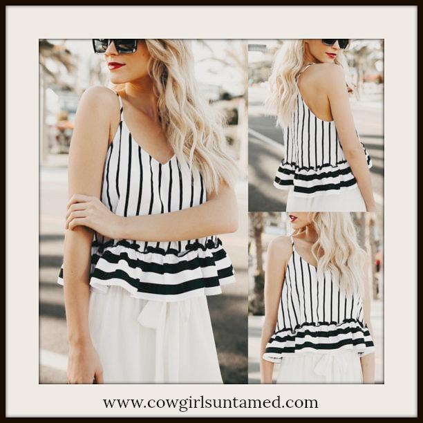 725d36ed0c24 Black   White Striped Spaghetti Strap Ruffle Hem Summer Boho Chic ...