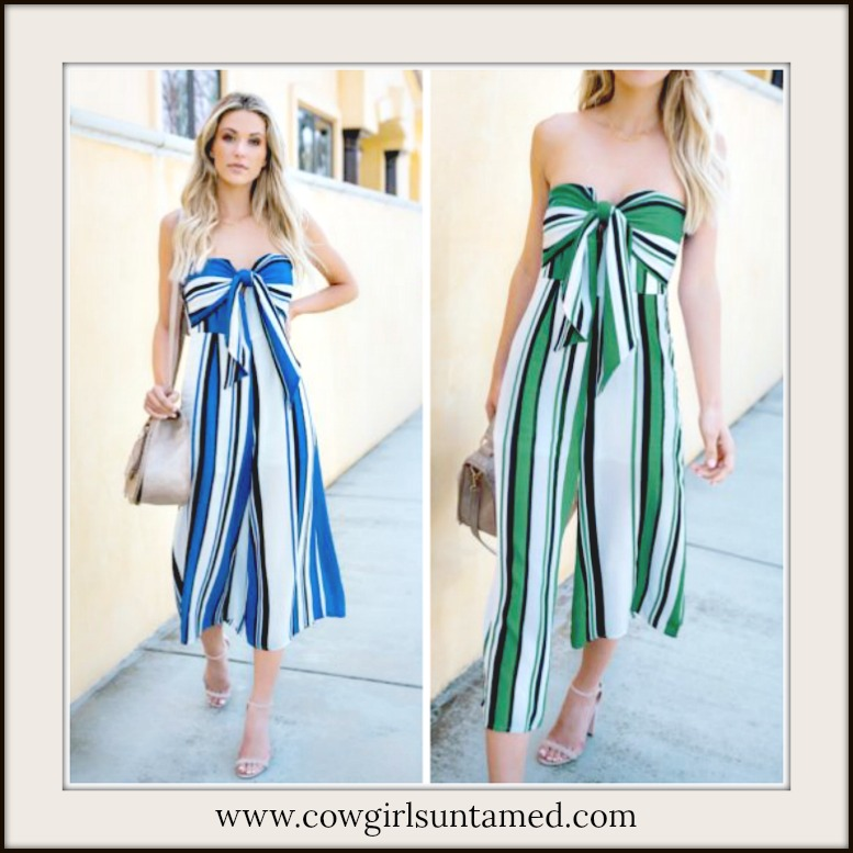 NO PLAIN JANE HERE JUMPSUIT Strapless Multi Stripe Bow Top Wide Leg Jumpsuit