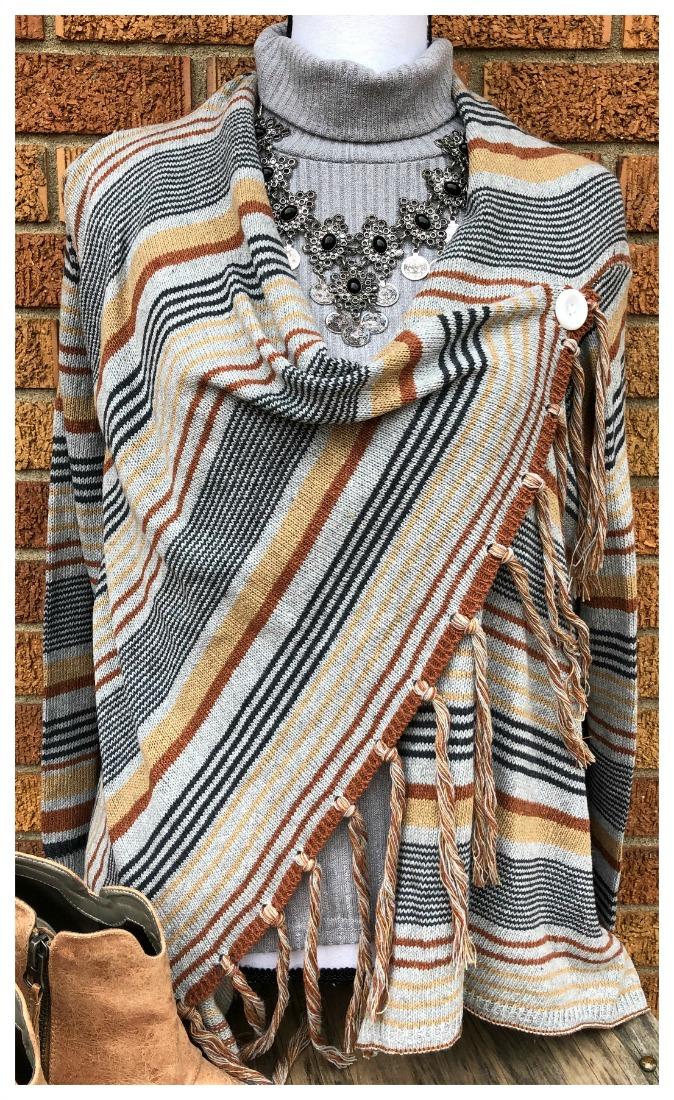 BOHO SWEATER SET Striped Fringe Knit Grey Cardigan & Grey Turtleneck Set - LAST ONE M