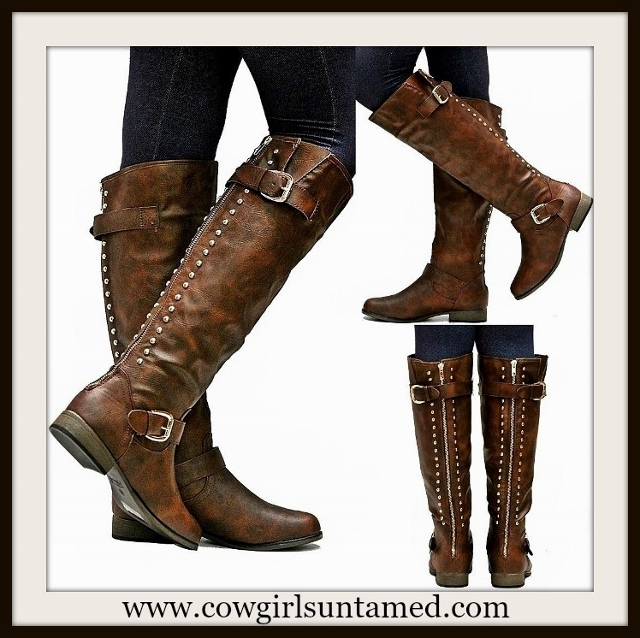 BUCKLE UP BOOTS Brown Studded Buckle Accent Western Riding Boots