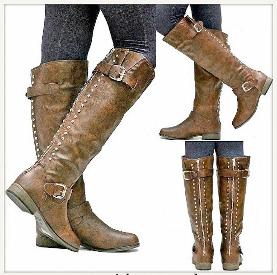 BUCKLE UP BOOTS Brown Studded Buckle Accent Western Riding Boots LAST ONE SIZE 7
