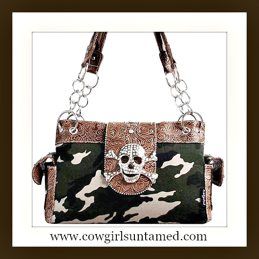 CAMO COWGIRL PURSE Rhinestone Studded Brown Leather with Crystal Skull Camo Canvas DESIGNER Western Handbag