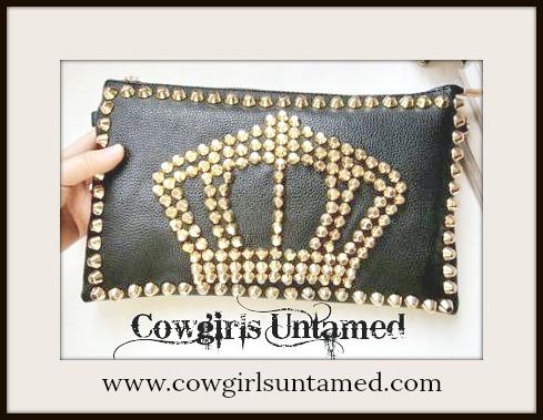 COWGIRLS ROCK PURSE Metal Studded Crown on Black Leather Clutch Handbag
