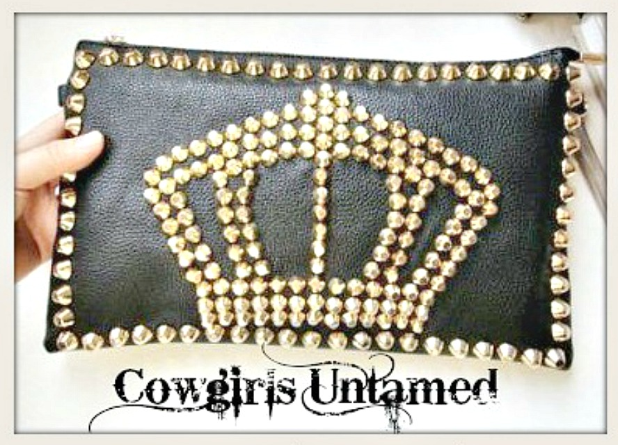 COWGIRLS ROCK PURSE Metal Studded Crown on Black Leather Clutch Handbag