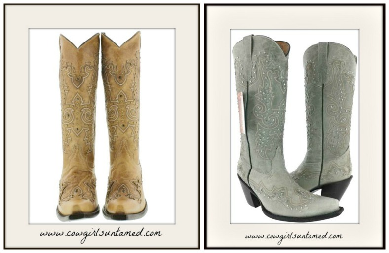 COWGIRL GYPSY BOOTS Metal Studded Embroidered Tall GENUINE LEATHER Boots  2 COLORS!