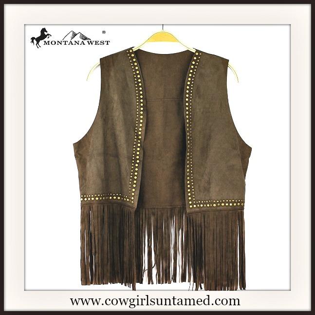 Studded Fringe Suede Vest Antique Gold Vest Fringe