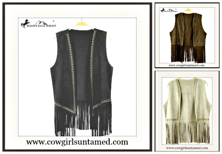 COWGIRL STYLE VEST Studded Fringe Suede Vest  BLACK or BROWN or BEIGE