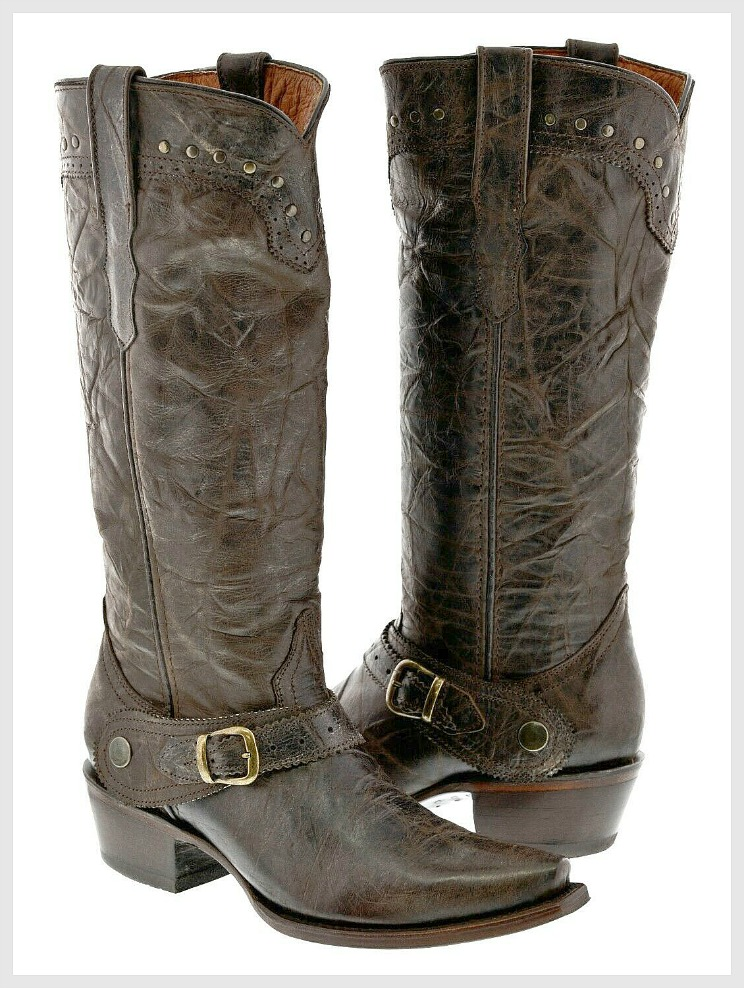 THE BUCKLE BOOTS Studded Trim Brass Buckle Tall Brown Genuine Leather Riding Boots ONLY 2 LEFT 7 or 8
