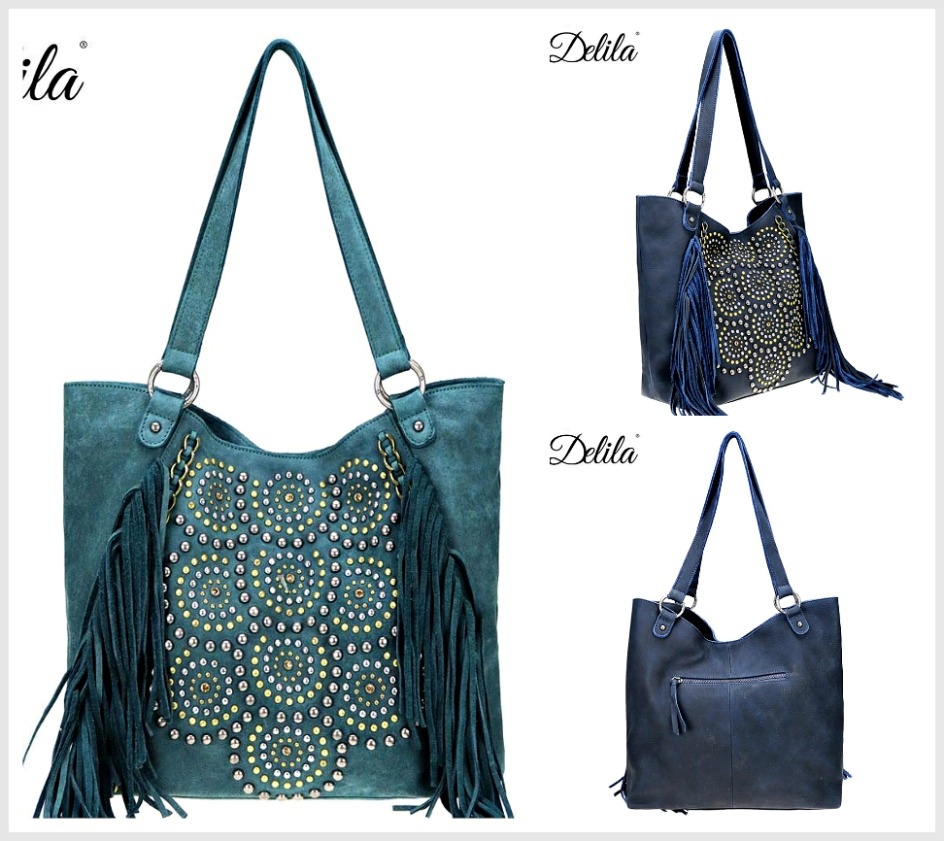 DELILA FRINGE TOTE Studded Chain & Fringe Accent Genuine Leather Boho Tote  2 COLORS