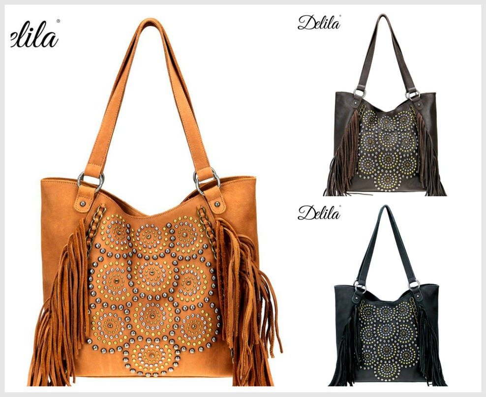 DELILA TOTE Studded Chain & Fringe Accent Genuine Leather Boho Tote