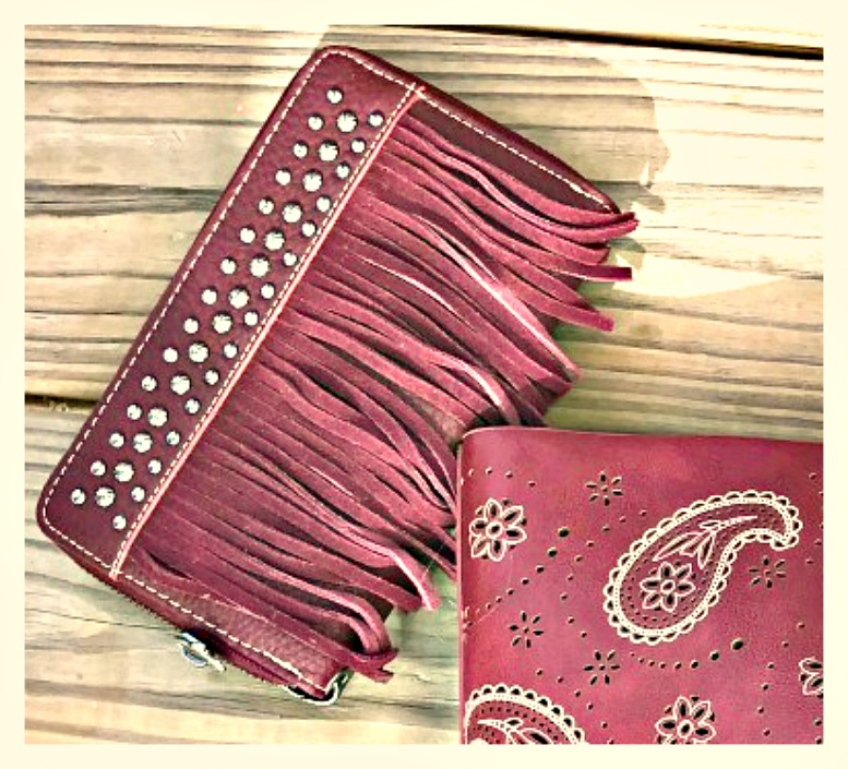 COWGIRL GYPSY WALLET Silver Studded Fringe Zip Top Leather Wallet / Clutch 2 COLORS