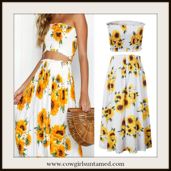 COUNTRY COWGIRL SKIRT SET Sunny Yellow Sunflowers on White Midi Skirt & Smocked Crop Top Set