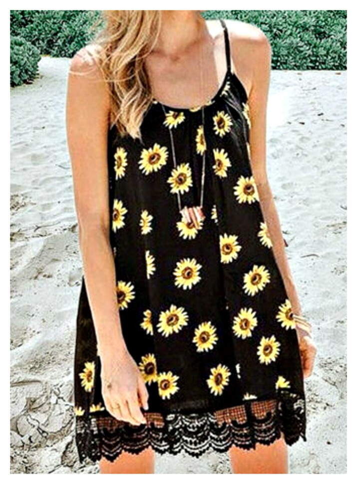 DREAMIN' DAISIES DRESS Black Lace Trim Yellow Orange Brown Daisy Print Sleeveless Short Dress S-XL