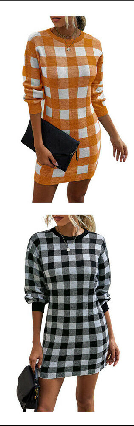 JUST CHECK DRESS Plaid Checked Womens Long Sleeve Crew Neck Sweater Dress 2 COLORS S-XL