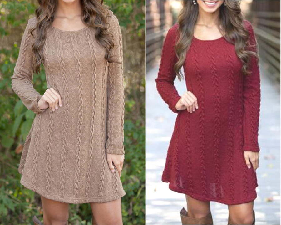 THE SWEATER DRESS Cable Knit Long Sleeve Short Womens Sweater Dress 2 COLORS S-XL