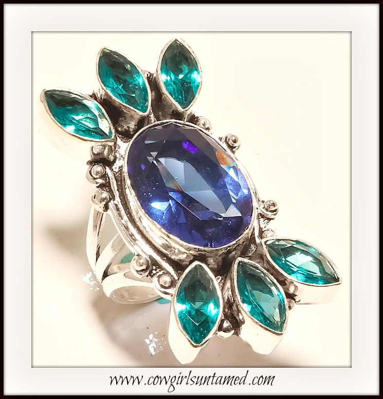COWGIRL GYPSY RING Tanzanite Quartz & Blue Topaz Sterling Silver Boho Ring