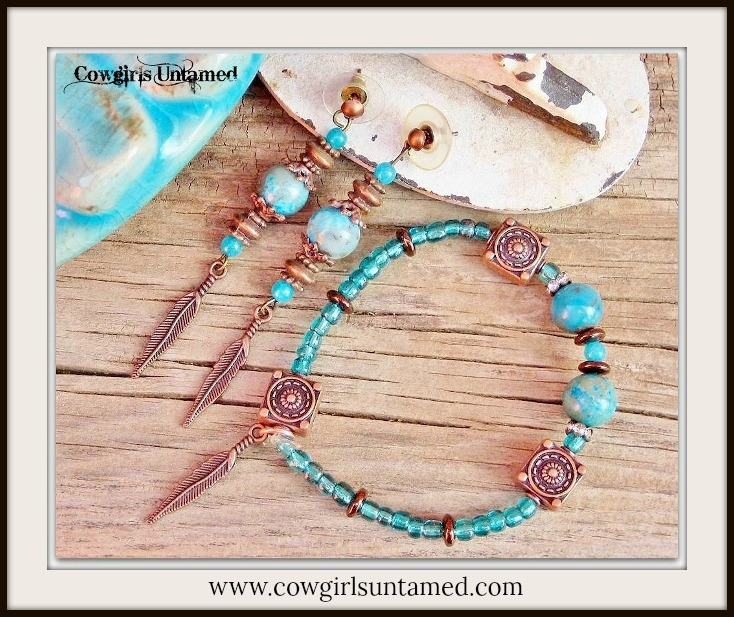 COWGIRL STYLE EARRINGS SET Aqua & Teal Gemstones Copper Feather Charm Earrings Bracelet Set