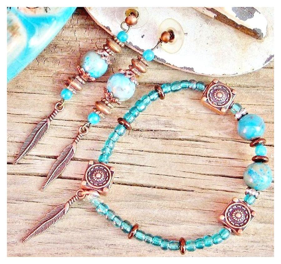 COWGIRL STYLE EARRINGS SET Aqua & Teal Gemstones Copper Feather Charm Earrings Bracelet Set