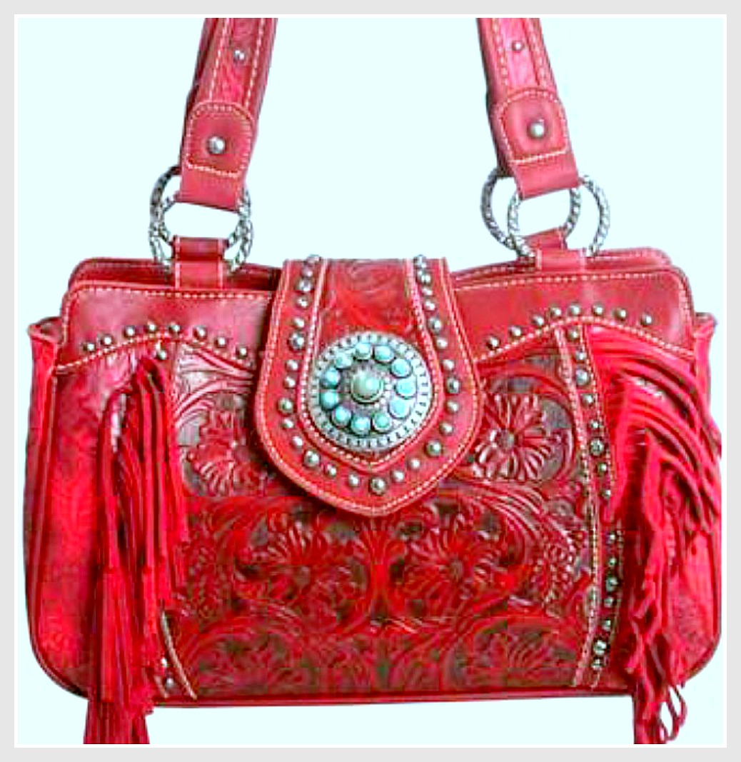 TRINITY RANCH HANDBAG Silver Turquoise Concho Fringe Floral  Tooled Red GENUINE Leather Handbag WALLET OPTION