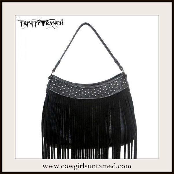 BOHO CHIC HANDBAG Silver Studded Black Fringe GENUINE Leather Handbag