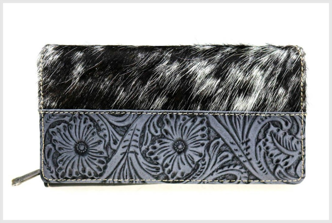 MONTANA WEST WALLET Trinity Ranch Black White Hair-On Hide Secretary Style Floral Tooled Leather Wallet
