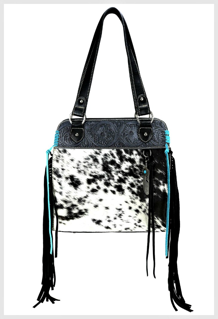 MONTANA WEST HANDBAG Trinity Ranch Black White Hair-On Hide Leather Turquoise Whipstitch Fringe Tote Purse