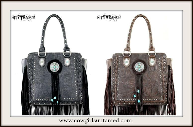 COWGIRL GYPSY HANDBAG Silver & Turquoise Concho Fringe Tooled Leather Handbag