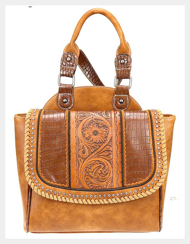 BOHEMIAN COWGIRL BACKPACK Vintage Floral Tooled Brown Leather Boho Backpack