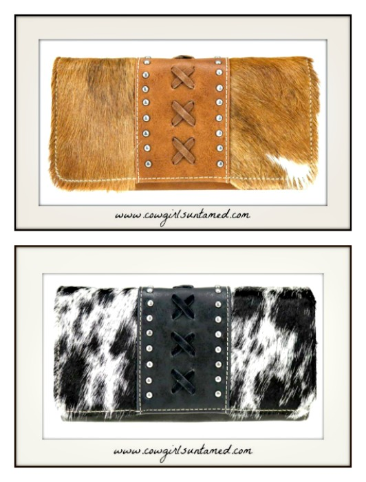 COWGIRL STYLE WALLET Hair on Hide Whipstitch Studded Leather Wallet