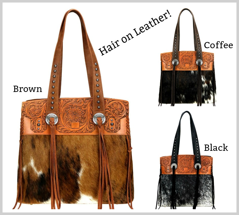 MONTANA WEST HANDBAG Trinity Ranch Hair-On Leather Tassel Concho Western Cowgirl Tote Bag 3 COLORS!