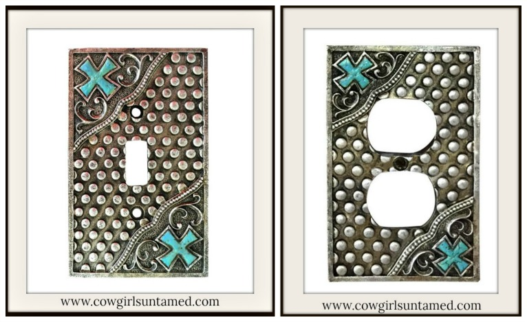 COWGIRL STYLE DECOR Turquoise Cross and Antique Silver Wall Plates