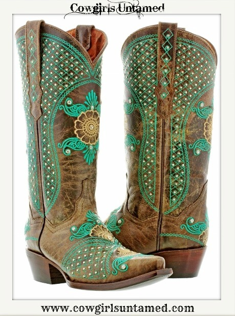 Wild Flower Boots Silver Amp Rhinestone Studded Turquoise