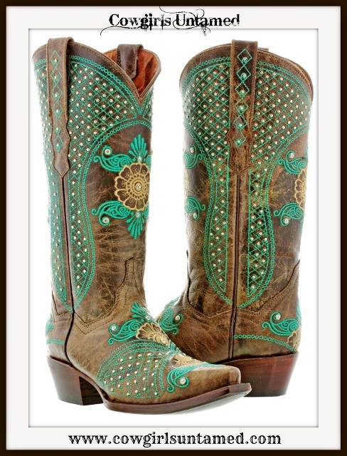 WILDFLOWER BOOTS Silver & Rhinestone Studded Turquoise Embroidery Brown Leather Cowgirl Boot